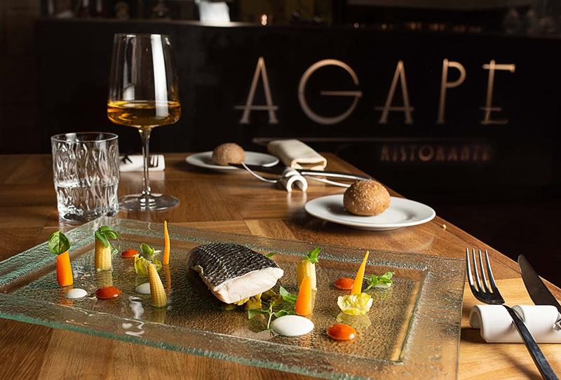 Filetto di spigola al vapore con verdurine baby in agrodolce e salsa all'asprinio d'Aversa